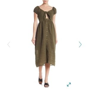 NWOT Olive Green Front Tie Midi Dress